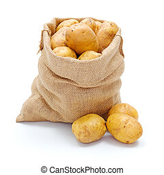 White potatoes in burlap sack