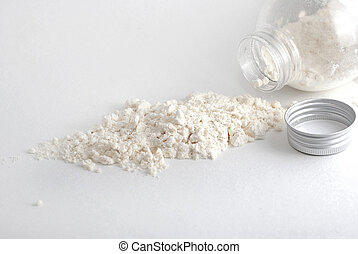 White powder from jar