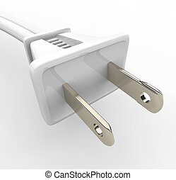 White Power Cord and Plug - A white power cord and electric...