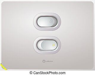 White power switch. Realistic style. Vector illustration.