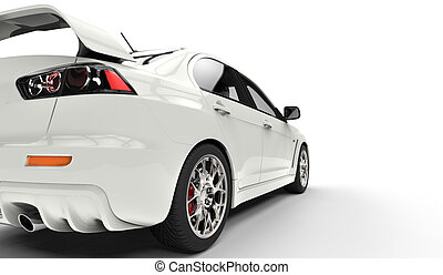 White Powerful Car Rear View