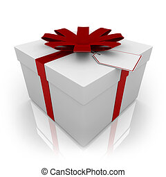 White Present with Red Bow and Tag - A white gift box ...
