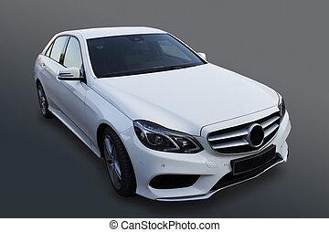 white prestige car on black background