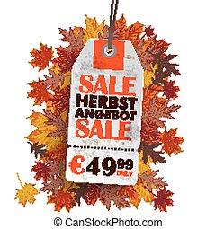 White Price Sticker Herbst Angebot - Sale sticker on the...