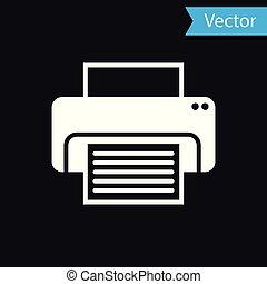 White Printer icon isolated on black background. Vector Illustration