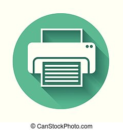 White Printer icon isolated with long shadow. Green circle button. Vector Illustration