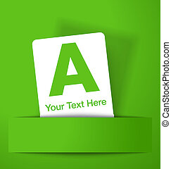 White promotion card on green background