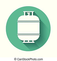 White Propane gas tank icon isolated with long shadow. Flammable gas tank icon. Green circle button. Vector Illustration