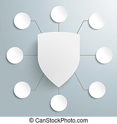 White Protection Shield Infographic Design 8 Options PiAd