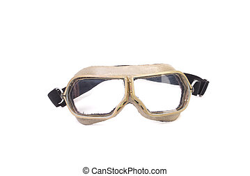 White protective glasses. Isolated on a white background.