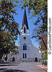 protestant church in Stellenbosh(South Africa) - white...