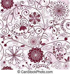 White-purple seamless floral pattern