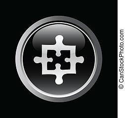 white puzzle on black button