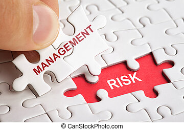 White puzzle with word RISK and MANAGEMENT