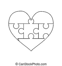 White puzzles pieces arranged in a heart shape. Simple Jigsaw Puzzle template ready for print. Cutting guidelines on white
