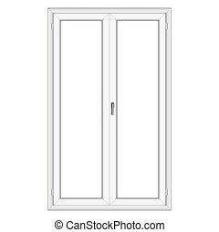 White PVC vector door isolated on white background