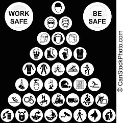 White pyramid health and safety icon collection