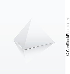 White pyramid on white background