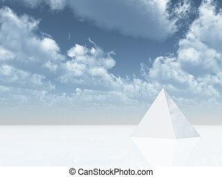 pyramid - white pyramid under cloudy blue sky - 3d...