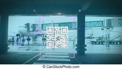 Animation of a white QR code over fast motion people walking on the airport, changing into a fingerprint scan digital composite video