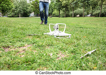 Quadrocopter Fallen On Grass