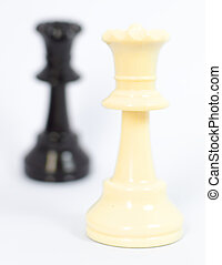 White queen and black king chess with white background