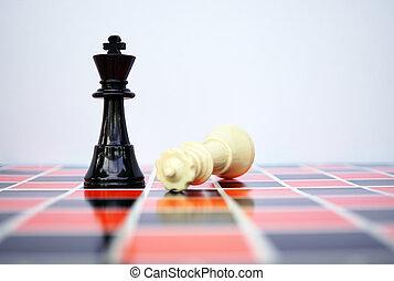 White queen chess fell down beside black king