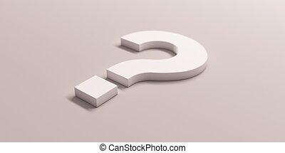White Question Mark Isolated. 3D Render illustration