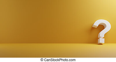 White question mark on a yellow background