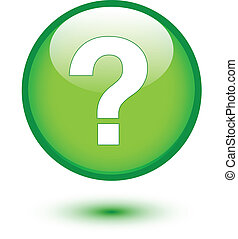 White question mark on green