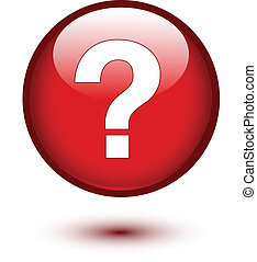 White question mark on red