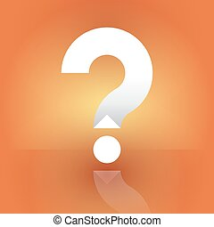 white question mark on an orange background