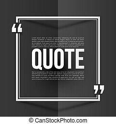 White quote frame with placeholder text at black folded paper background