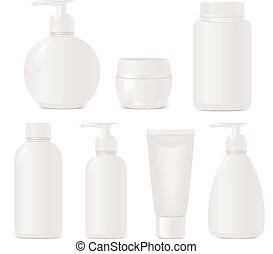 """White """"no name"""" set of plastic cosmetic containers. Isolated on white"""