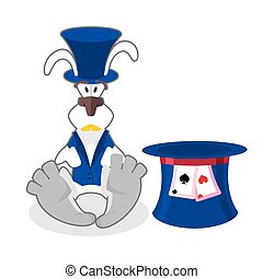 White rabbit in blue hat. bunny in waistcoat. Cylinder is Mad Hatter. Illustration for Alice in Wonderland.