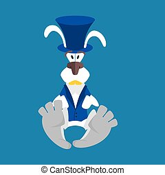 White Rabbit in Hat. Hare in blue vest. Alice in Wonderland