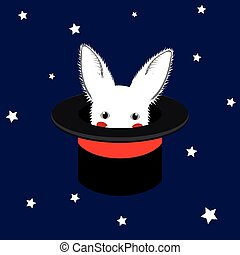 White Rabbit in Magician Hat
