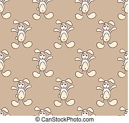 White Rabbit on Brown Background