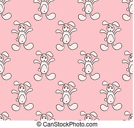 White Rabbit on Pink Background