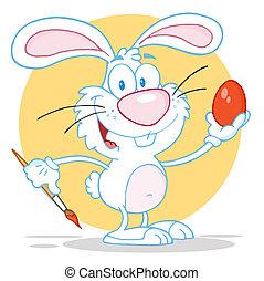 White Rabbit Painting Easter Egg