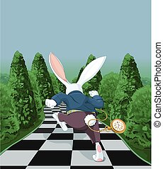 White Rabbit Running Away