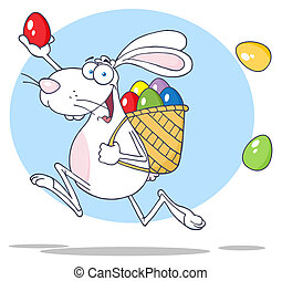 White Rabbit Running With A Basket