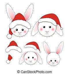 White Rabbit Santa Claus isolated on White Background.