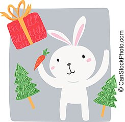 White rabbit with carrot and gift box