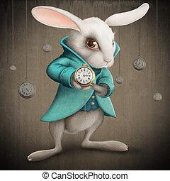 white rabbit with clock - White Elegances rabbit indicates...