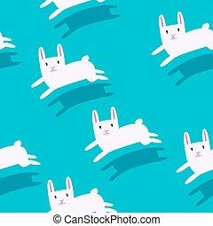 White rabbits running Seamless pattern