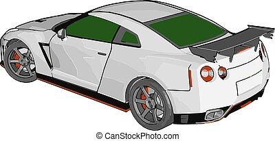 White race car with green windows and orange detailes and ...