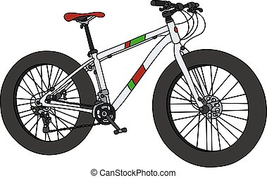 White racing fatbike - Hand drawing of a white snowbike