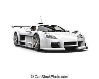 White racing supercar - studio shot