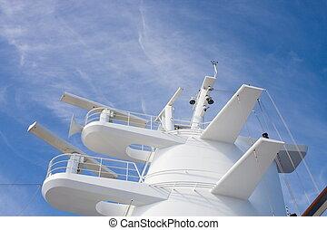 White Radar Tower on a Cruise Ship
